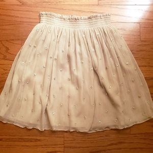 Club Monaco beige silk embroidered/jeweled skirt